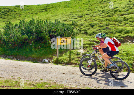 two mountainbiker at the finish, Austria, Tyrol, Tannheim Valley - Stock Photo