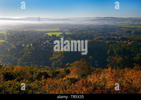 view of mountains Wesergebirge at Porta Westphalica in autum, aerial picture, Germany, North Rhine-Westphalia, East Westphalia, Porta Westfalica - Stock Photo