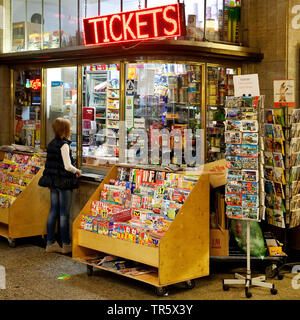 kiosk in the main station of Wuppertal, Germany, North Rhine-Westphalia, Bergisches Land, Wuppertal - Stock Photo