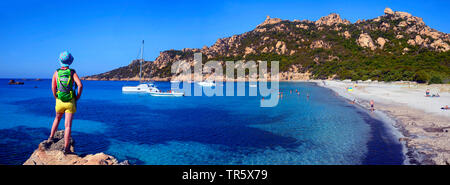 Trek along the coast near the bay of Roccapina in South west Corsica, France, Corsica, Roccapina - Stock Photo