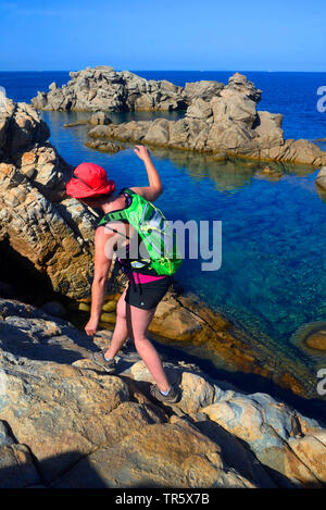 Trek along the coast near Tizzano in South west Corsica, France, Corsica, Roccapina - Stock Photo