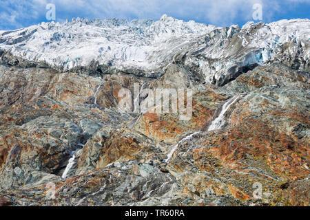 Rhone Glacier near the Furka Pass, Switzerland, Valais, Oberwallis - Stock Photo