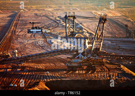 brown coal surface mining with stacker, Germany, North Rhine-Westphalia, Garzweiler, Juechen