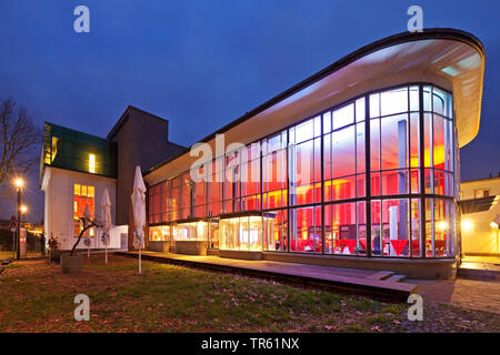 Product Design Forum, old listed central station in the evening, Germany, North Rhine-Westphalia, Bergisches Land, Solingen - Stock Photo