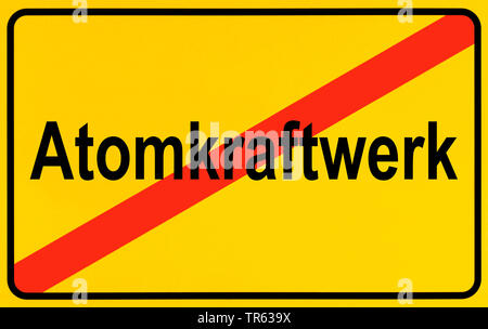 city limit sign Atomkraftwerk, nuclear power station, Germany - Stock Photo