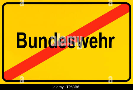 city limit sign Bundeswehr, German armed forces, Germany - Stock Photo