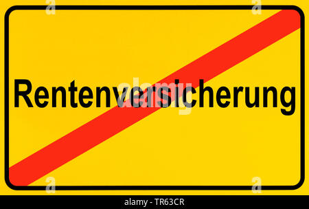 city limit sign, Rentenversicherung, pension insurance, Germany - Stock Photo