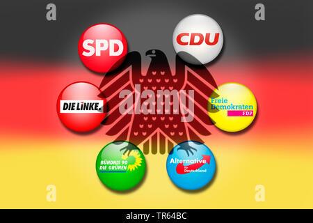Wahlen zum deutschen Bundestag, Bundesadler mit Parteilogos der grossen Parteien, Deutschland   election of German Bundestag, German federal eagle and - Stock Photo