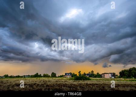 thunderstorm ober Kirchwerder, Germany, Hamburg - Stock Photo