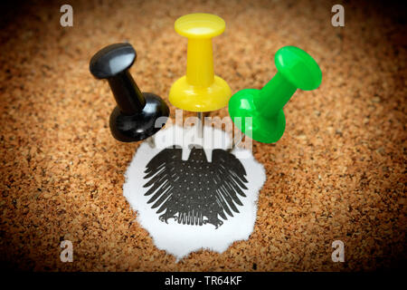 tacks in the colours black, yellow an green, symbol picture for Jamaica coalation, Germany - Stock Photo