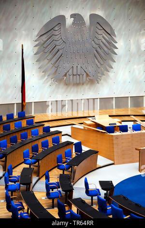 Bundesadler 3 im Plenarsaal des Bonner Bundestages, Deutschland, Nordrhein-Westfalen, Bonn   federal eagle three in the plenar hall of the Bundestag, - Stock Photo