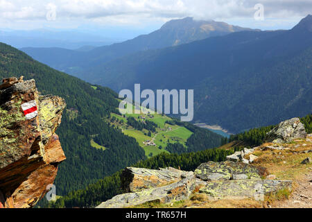view of Ultental with storage lake Lago di Zoccolo from Schwemmalm, Italy, South Tyrol, Ultental, Santa Valburga - Stock Photo