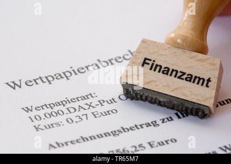 stamp with label Finanzamt, taxation office, flat rate withholding tax, Germany - Stock Photo