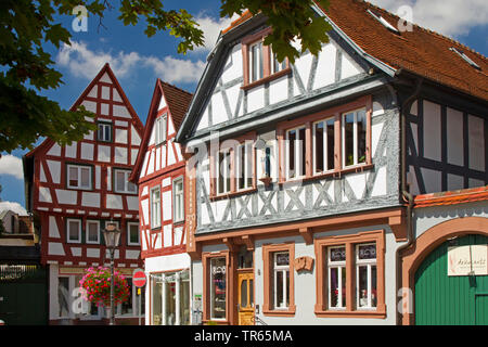 half-timbered house at market place, Germany, Hesse, Seligenstadt