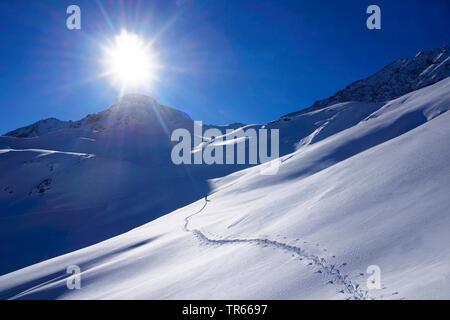 ski touring tracks in the snow to Pointe de la Sana in backlight, France, Savoie, Val d Isere - Stock Photo