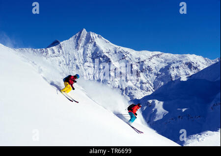 off-piste from the summit of La Grande Sassiere, France, Savoie, Val d Isere - Stock Photo