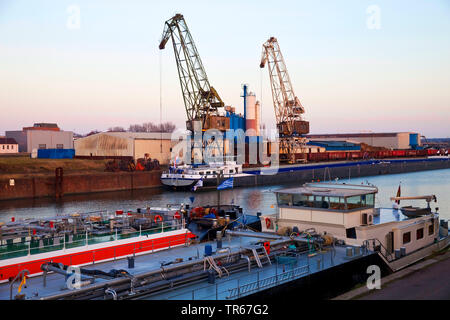 freight ships and cranes in inland port Duisburg, Germany, North Rhine-Westphalia, Ruhr Area, Duisburg - Stock Photo