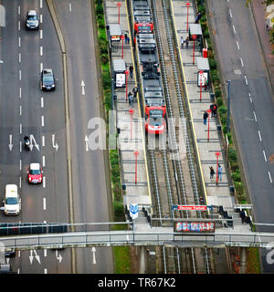 aerial view of road and tram station Deutzer Freiheit, Germany, North Rhine-Westphalia, Rhineland, Cologne - Stock Photo
