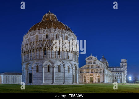 Pisa Baptistery and the Pisa Cathedral, Leaning Tower in background, Italy, Tuscany, Pisa - Stock Photo