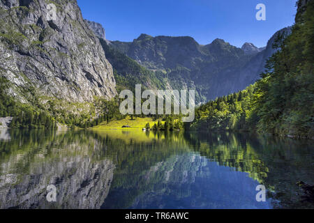 Obersee Lake in the Berchtesgaden National Park, Bavaria, Germany, Bavaria, Oberbayern, Upper Bavaria, Berchtesgaden National Park - Stock Photo