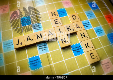 letters forming the word Jamaika nein danke, no Kamaica coalation, Germany - Stock Photo