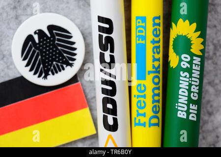 ball-pens of the partys CDU/CSU, FDP and Buendnis 90 die Gruenen, jamaica coalation, Germany - Stock Photo