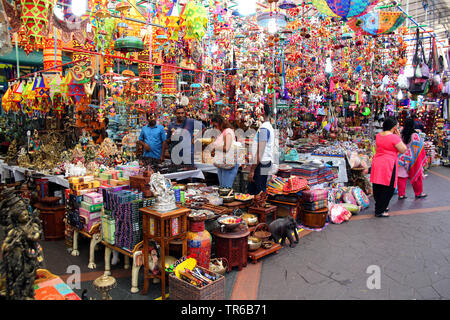 bustle in the colorful Little India, Singapore - Stock Photo