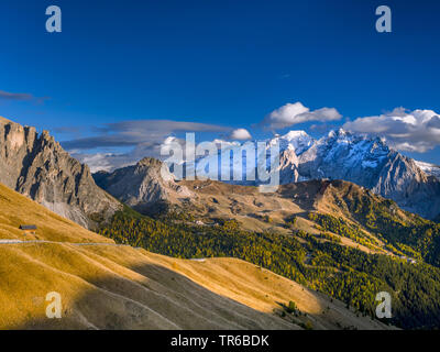 view from Sella Pass South to Marmolada, Italy, South Tyrol, Dolomites - Stock Photo