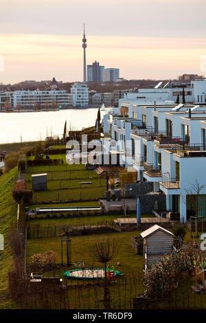 residential development at Lake Phoenix, Florianturm in background, Germany, North Rhine-Westphalia, Ruhr Area, Dortmund - Stock Photo