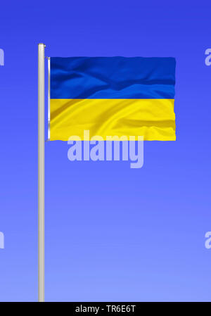 flag of Ukraine against blue sky, Ukraine - Stock Photo
