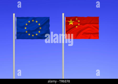 flag of Europe and China against blue sky, China - Stock Photo