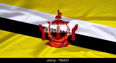 flag of Brunei, Sultanate of Brunei, Brunei Darussalam - Stock Photo