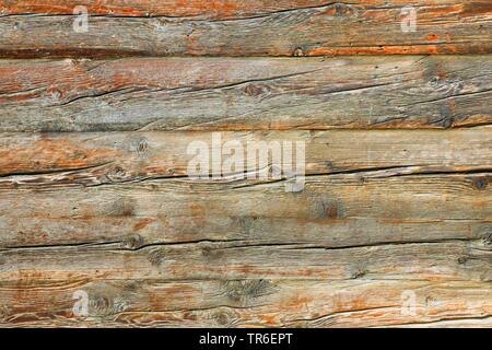 wooden wall of Valaisan style house, Switzerland, Valais - Stock Photo