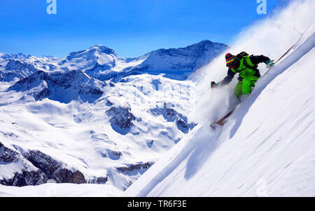 off-piste skiing on the mountain Bellecote, on the back the summit of Grande Motte and Grande Casse, France, Savoie, Vanoise National Park, La Plagne - Stock Photo