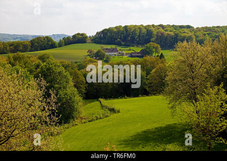 view from Ruhr University Bochum to farmhouse in the Lottental valley, Germany, North Rhine-Westphalia, Ruhr Area, Bochum - Stock Photo