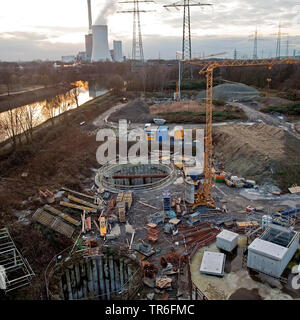 construction site of Emscher and Rhine-Herne Canal, power station Herne Baukau in background, Germany, North Rhine-Westphalia, Ruhr Area, Herne - Stock Photo