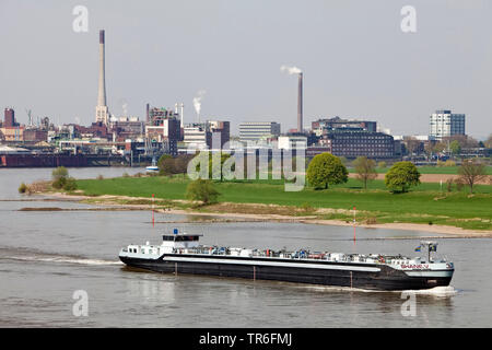 shipping on River Rhine and Chempark in Uerdingen, Germany, North Rhine-Westphalia, Krefeld - Stock Photo