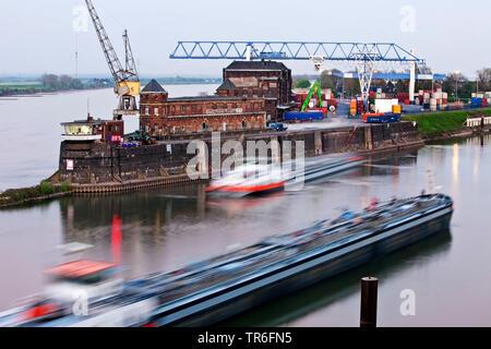 Krefeld Rhine harbour, Germany, North Rhine-Westphalia, Lower Rhine, Krefeld - Stock Photo