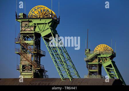 shaft tower of the disused coal mine Westfalen, Germany, North Rhine-Westphalia, Ahlen - Stock Photo