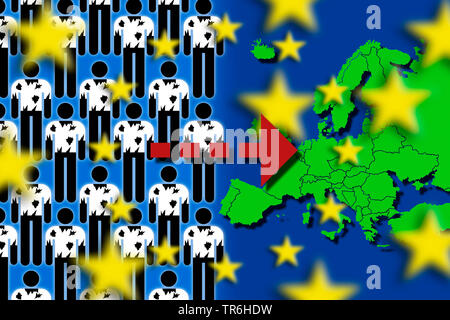 refugees and europe flag, influx of refugees to Europa, Germany - Stock Photo