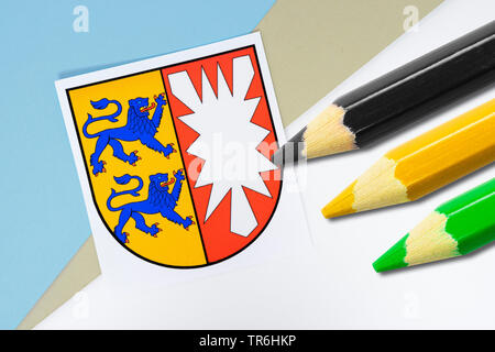 blazon of Schleswig-Holstein with coloured pencils in black, yellow and green, Jamaika coalition, Germany, Schleswig-Holstein - Stock Photo