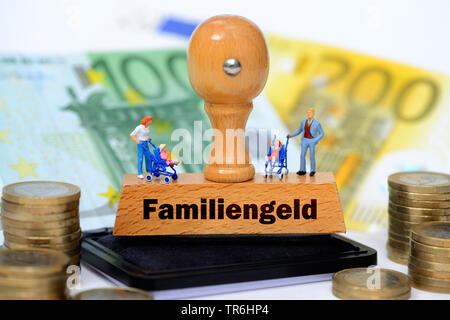 stamp with the inscription Familiengeld, money fpr families, Germany - Stock Photo