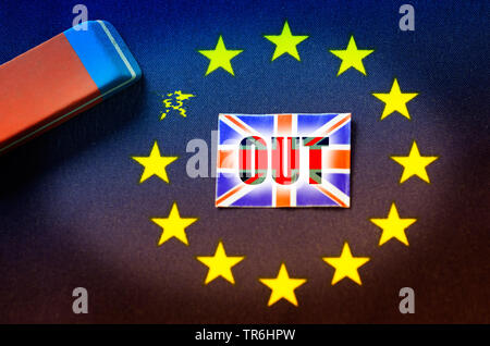 a star is erwased from the EU flag, symbol picture Brexit - Stock Photo