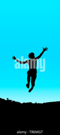 young girl jumping blue black, Germany - Stock Photo