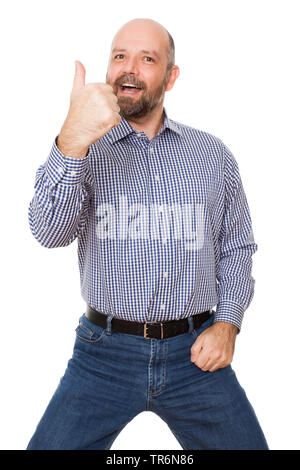 happy man with chequered shirt doing o.k.-sign, Germany - Stock Photo