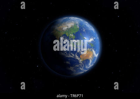 view of the the earth from deep space, Asia and Australia, virtual worlds, computer graphic - Stock Photo
