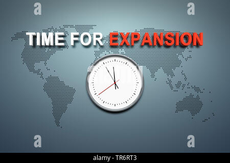 clock with English title Time for Expansion - Stock Photo