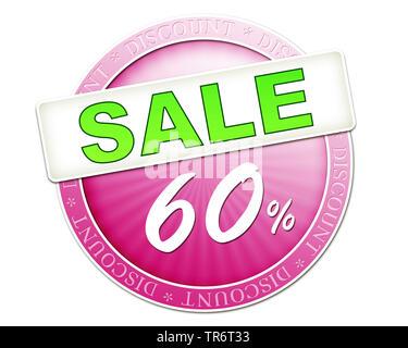 f5b3bc7085893 ... Aufkleber mit der Aufschrift Sale 60 Percent, Ausverkauf, 60 Prozent  Rabatt, Computergraphik