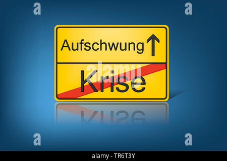 German place-name sign symbolising change from crisis to boom, Germany - Stock Photo