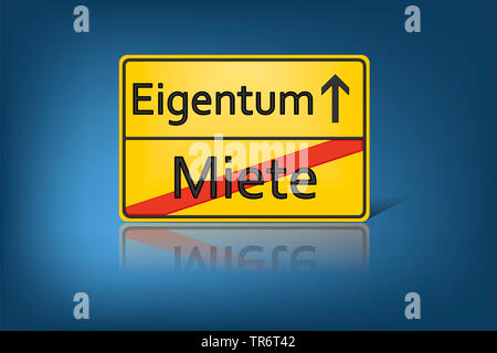 German place-name sign symbolising change from Rent to Property, Germany - Stock Photo